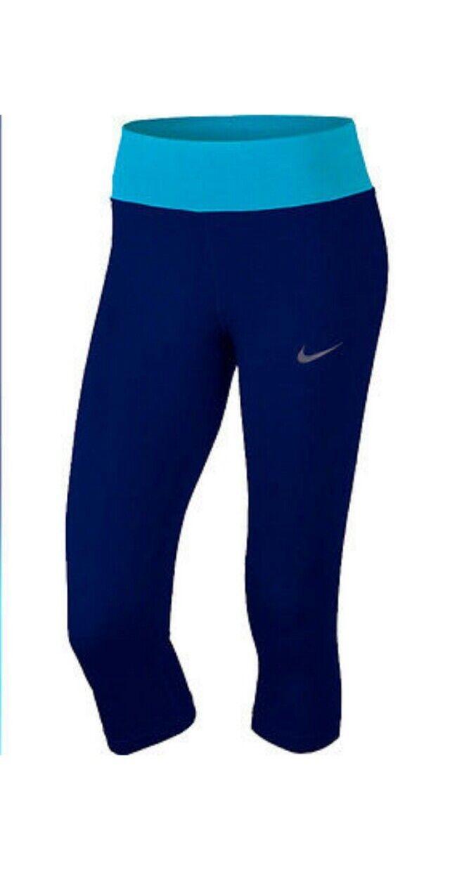 NWT New NIKE 1X 2X WOMENS CAPRIS running Power Essential bluee dri-fit yoga pants