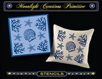Primitive Stencils-sea Side Shells-star Fish-coral-shell-beach Pillow Design