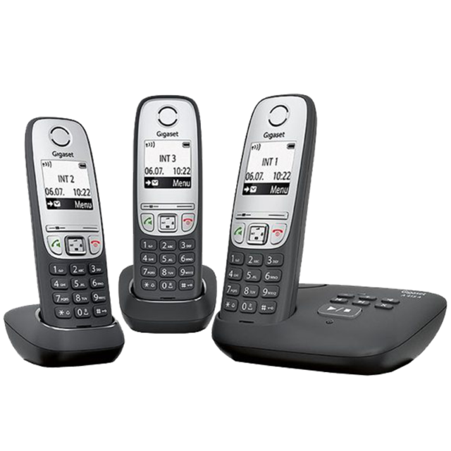 Gigaset A 415 A Duo Schnurloses Telefon Freisprechfunktion Schwarz Silber Anrufbeantworter Festnetztelefone & Zubehör