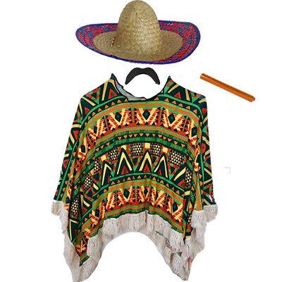 Mexican Blue Poncho Moustache Sombrero and Cigar Set Fancy Dress Costume Bandit
