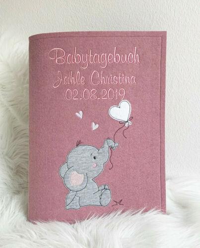 Babytagebuch zur Geburt mit Name • Elefant • Filz Taufgeschenk Fotoalbum 12
