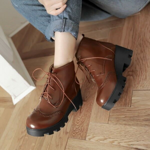 Retro Womens Chunky Heel Punched Platform Lace Up Punk Preppy Ankle Boots shoes