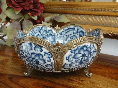Luxus Prunkschale Engel Porzellan Bronze Jugendstil Schale Antik Zwiebelmuster