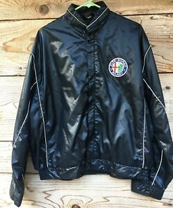 Vintage-ALFA-ROMEO-1960s-auto-racing-jacket-satin-look-in-black-nylon-Alfa-Romeo