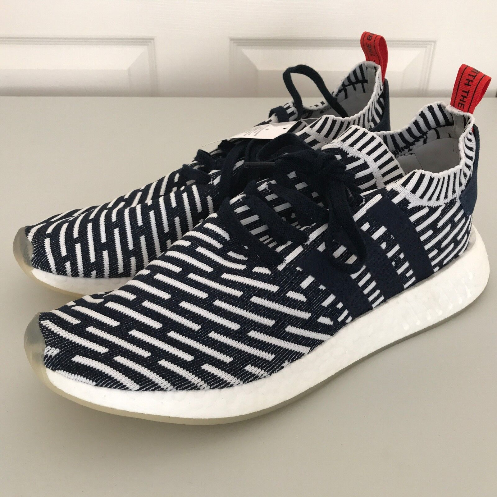 NEW adidas Mens NMD R2 Primeknit Running shoes Navy bluee White Sz 12.5 (BB2909)