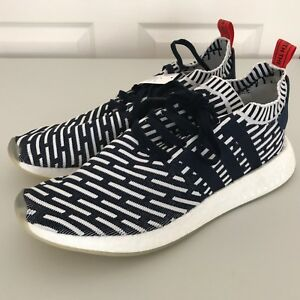 5106789fa4669 NEW adidas Mens NMD R2 Primeknit Running Shoes Navy Blue White Sz ...
