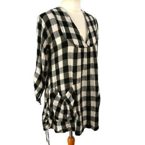 Masai-Size-S-10-12-White-Grey-Check-Linen-Blend-Top-Tunic-Dress-Summer-Holiday
