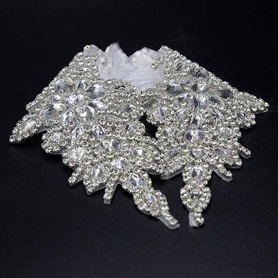 DIY Beaded Rhinestone Silver Applique Crystal Trim Sew/Iron on Wedding Belt Sash