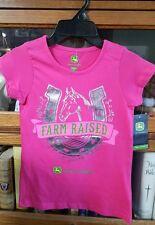 John Deere horse shoe pink T-shirt with Logo FARM RAISED Girls Size 7 JST437PY
