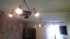 Lampadario Rustico Per Taverna : Lampadario rustico in ferro battuto e legno mod ruota cucina
