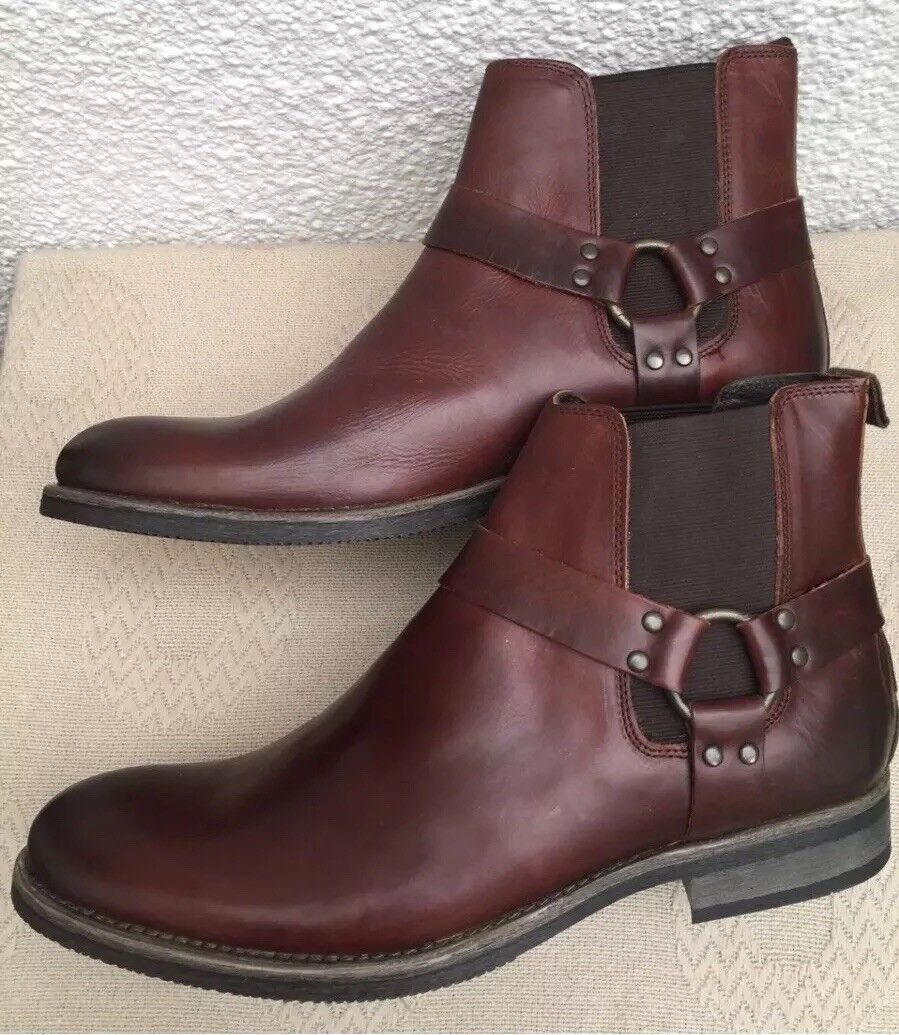 Next Leather Chelsea Boots Dark Brown Size 11 Work Formal Western Style