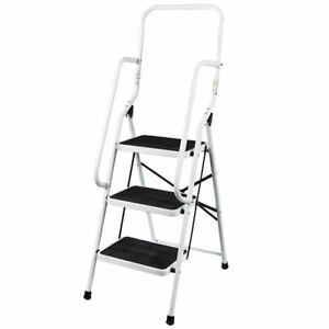 3 Step Ladder With Handrail Steel Folding Kitchen Stool