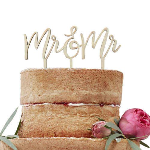Tortendeko Mr /& Mr aus Holz Boho 16,5 x 14 cm Cake Topper Hochzeit Tortenaufsatz