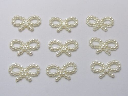 40 Acrylic Pearl Bows Baby Shower Communion Wedding Craft Scrapbooking Cards