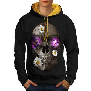 a New oro fiori testa Felpa cappuccio contrasto Black cappuccio Skull Flowers con di zxpUnBa