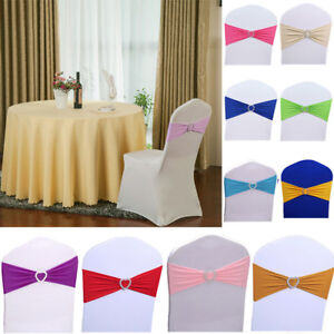 100 Wholesale Lycra Spandex Stretch Chair Cover Sash Band w Buckle Wedding Party