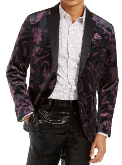 INC Mens Blazer Purple Black Size Medium M Tuxedo Floral Velvet Slim $149 #050