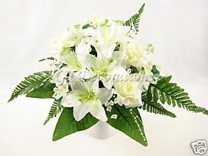 Artificial silk flowers cream rose lily stephanotis ferns wedding image is loading artificial silk flowers cream rose lily stephanotis ferns mightylinksfo Images