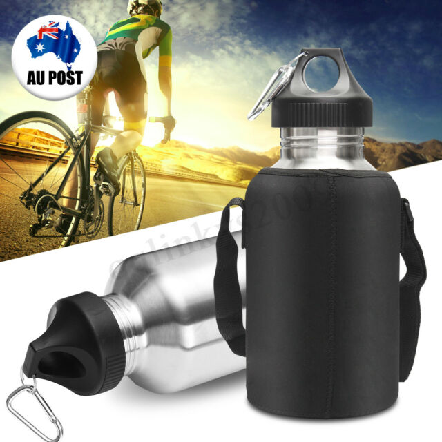 2L Silver Stainless Steel Large Mouth Water Drink Bottle Kettle Cycling Sports