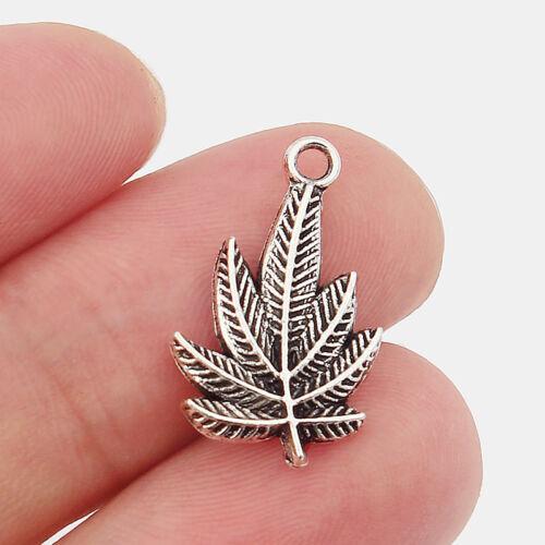 10pcs Mini Marijuana Leaf Shape Charms Beads Pendant Jewelry Findings 14x20mm