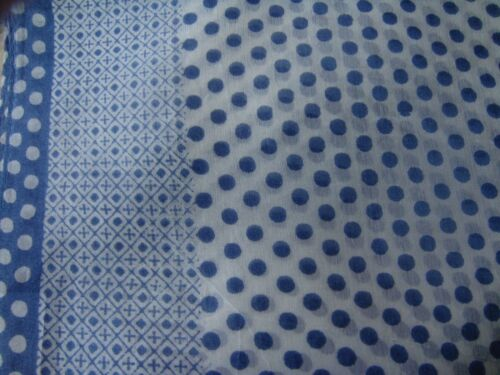 "100/% SILK INDIAN HANDMADE BLUE /& WHITE SPOTTED DESIGN LONG SCARF10/""x70/""  £10.50"