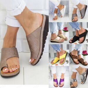 Details about Women Summer Flat Wedges Open Toe Ankle Beach Shoes Roman Slippers Sandals AU
