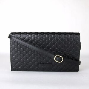 63e08640a75940 Image is loading New-Gucci-Black-Guccissima-GG-Leather-Crossbody-Shoulder-