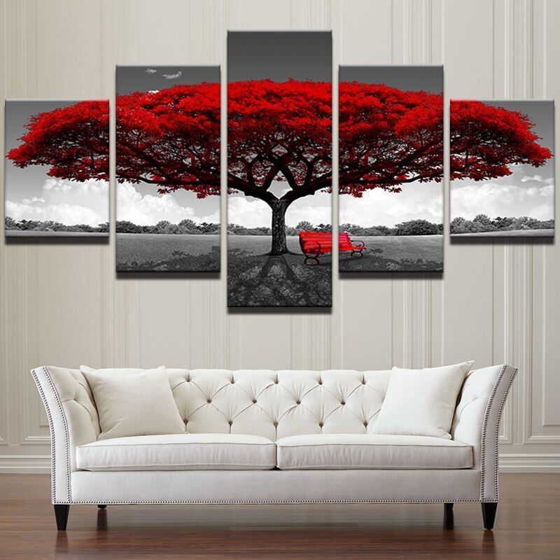 Big rot Tree Nature Landscape 5 piece canvas Wall Art Home Decor Picture Print