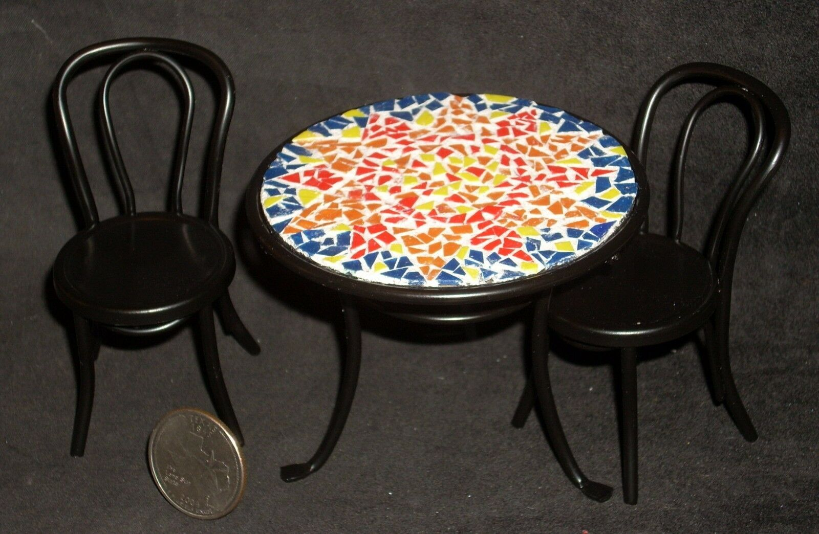 Mosaic Topped Table 2 Chairs 1:12 Cafe Garden Patio Bistro Miniature S50 2952