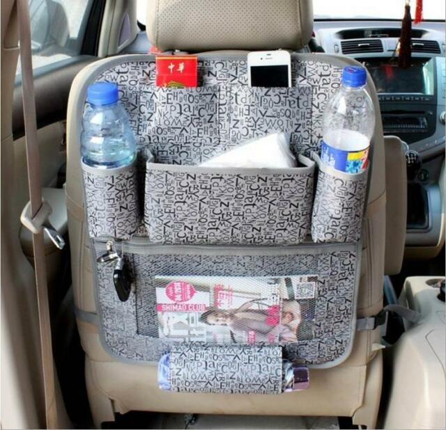 Grey Car Auto Back Seat Magazine Hanging Organizer Storage Holder Bag Pocket New