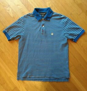 Brooks-Brothers-Performance-Mens-Polo-Shirt-Blue-Striped-Short-Sleeve-Size-Small
