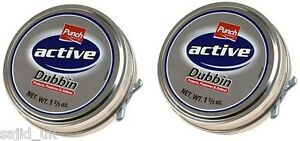 2x-Punch-Active-Dubbin-Neutral-50ml-Tin-Waterproofs-Leather-Shoe-amp-Boot-Wax