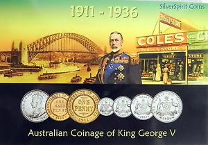 1911-1936-AUSTRALIAN-COINAGE-of-GEORGE-V-MINT-Australian-Coin-Set