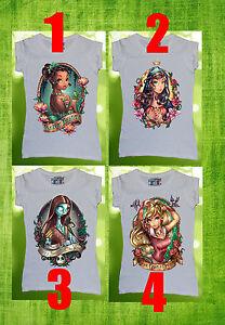 Disney All Princess Women T-shirt Pocahontas Tinkerbell Cinderella Alice Tattoo