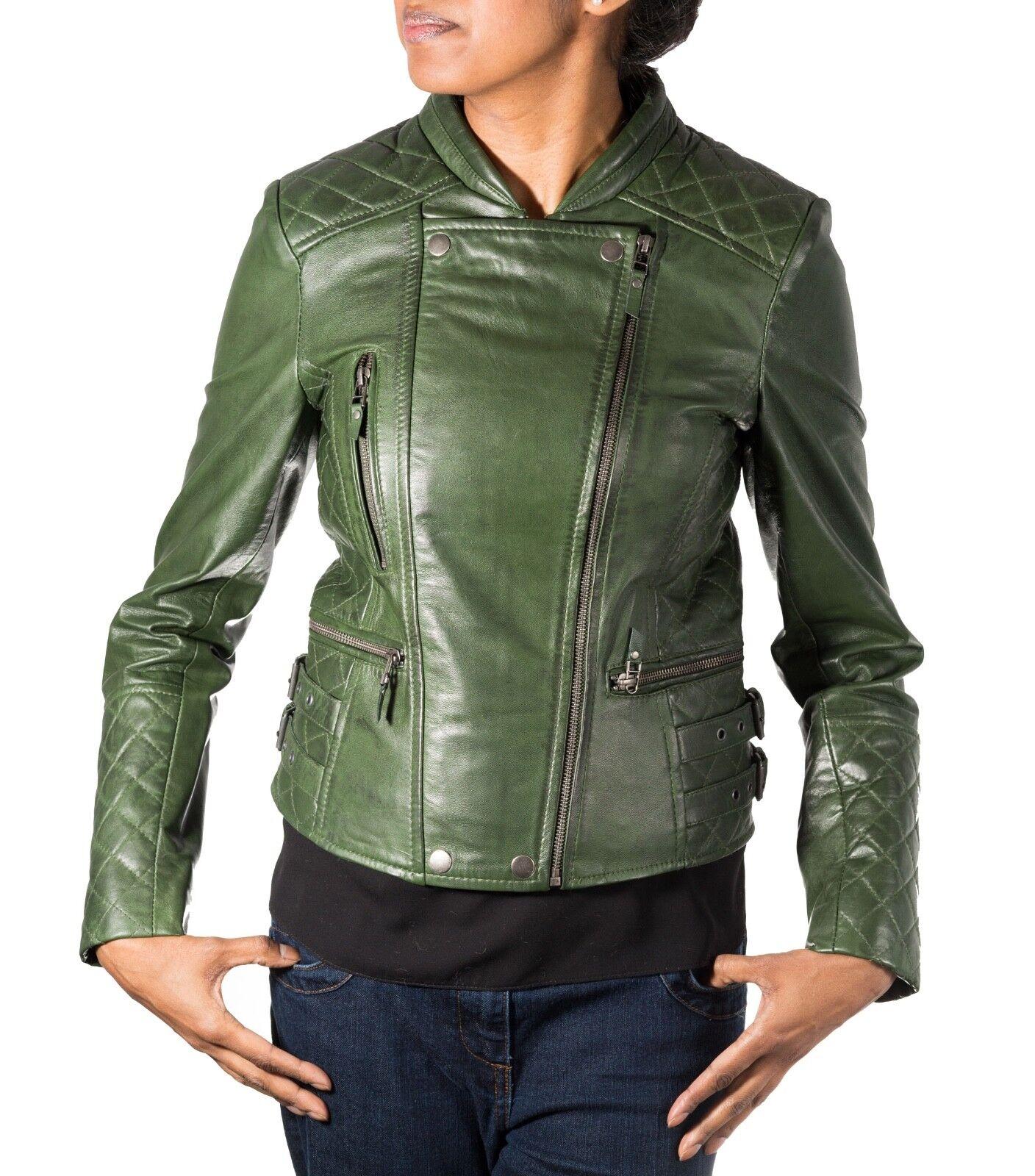 damen Grün Real Leather Diamond Quilted Double Zip Fastening Biker Jacket