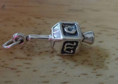 Sterling Silver 3D 22x7mm 4gram 4 sided Hannukah Jewish Holiday Dreidel Charm