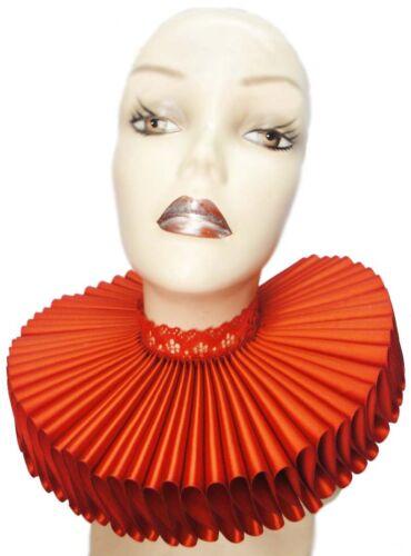 Big Red Satin Lace Ruffled Collar Edwardian Steampunk Elizabethan Victorian