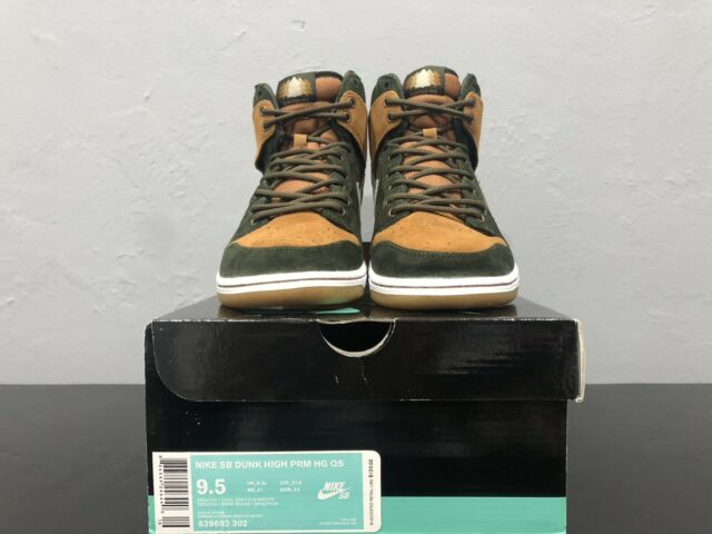 best service 35bf6 8906b Nike SB Dunk High PRM HG QS Home Grown Sequoia Grey Brown Size 9.5 839693  302