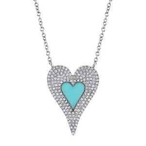14K-Oro-Blanco-Turquesa-Diamante-Collar-con-Corazon-Redondo-Pave-Mujer
