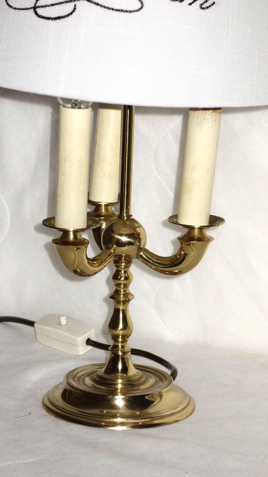 Antique Laiton-tissu Laiton-tissu Antique Parapluie lampe de bureau 3 flamig hauteur 54 cm 7886f7