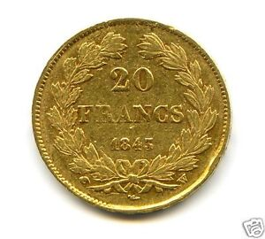 LOUIS-PHILIPPE-I-1830-1848-20-FRANCS-OR-GOLD-1843-W-LILLE