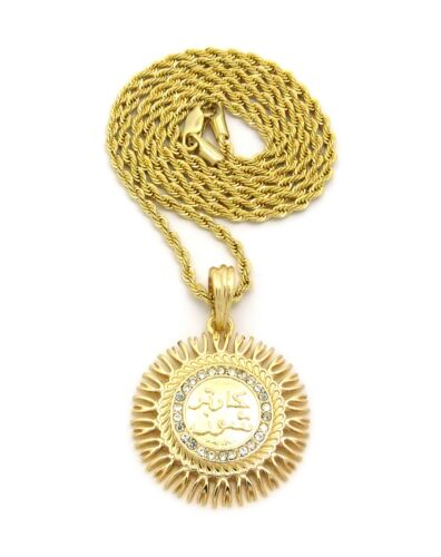 """NEW ICED ALLAH ROUND MICRO PENDANT VARIOUS 24/"""" /& 27/"""" CHAIN NECKLACE MMP109"""