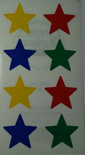 2 Strips PRIMARY STARS Blue Red Green Frances Meyer Stickers Free Shipping