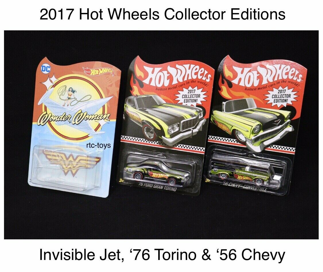 Hot Wheels 2017 Collector Edition '76 Ford Gran Torino,'56 Chevy & Invisible Jet