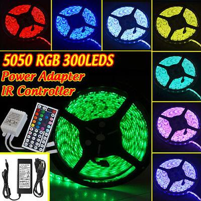 5050 RGB 5M 300LEDS SMD LED Strip Light Strings 12V Waterproof + 6A Adapter