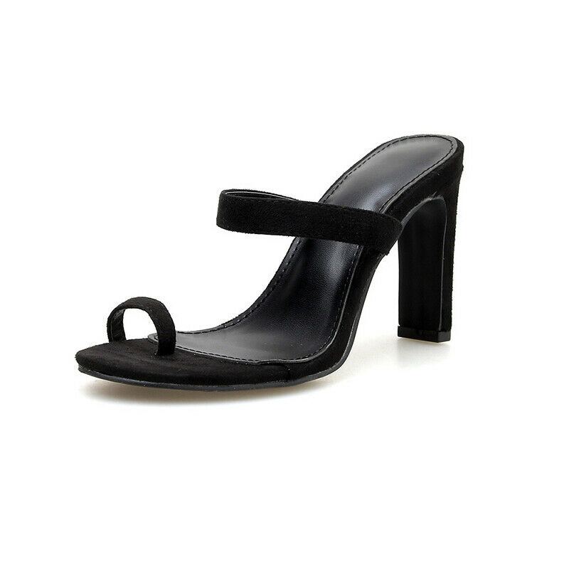 Sandali stiletto 10.5 cm black sabot ciabatte spillo simil pelle eleganti 1005