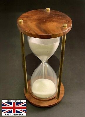 Vintage Antique Finish Sand Hour-Glass with Compass Maritime Style Table Ho