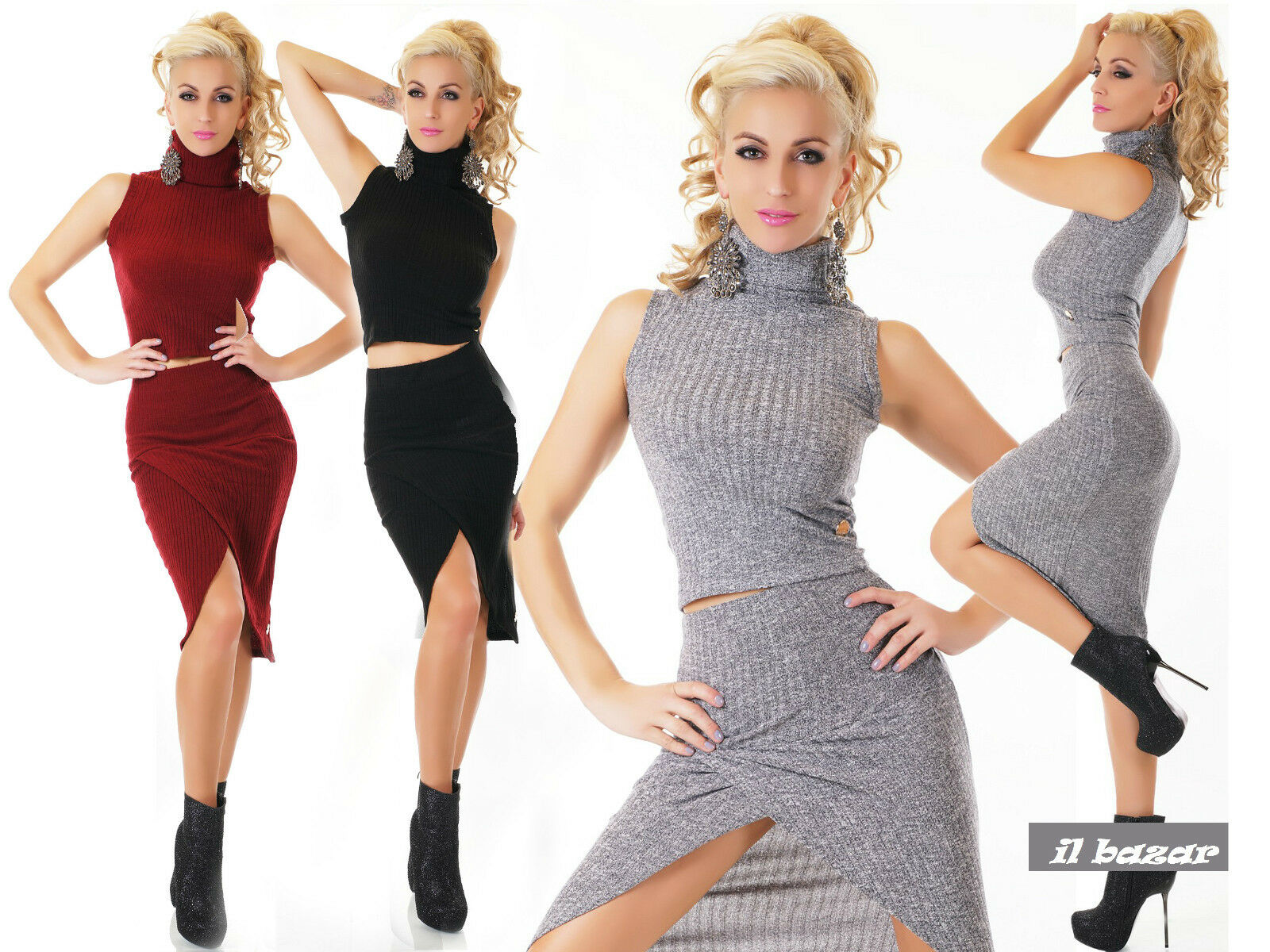 2 PIECES SEXY TWIN SET SKIRT + TOP 3 COLOURS SIZE S,M,L