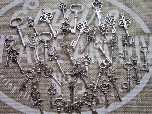 Skeleton Keys Antiqued Silver Tone Wedding Vintage Style Pendants Mix Charms