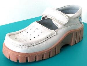 SANDALES-MI-OUVERTES-33-cuir-blanc-scratch-talon-compense-MAG-KIDS-fille-NEUF
